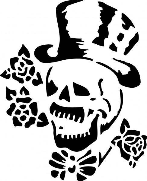 Selbstklebende Schablone für Glitzer-Tattoos oder für Airbrush-Tattoo TOTENKOPF SP139
