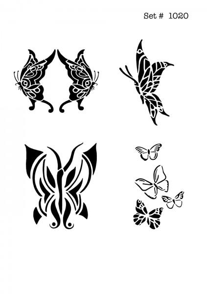 UNLIMITED STENCILS 4 selbstklebende DURA-LAR Airbrush Tattoo-Schablonen D1020