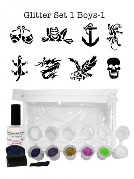 "Glitzer-Tattoo-Set ""for boys"" G1B1"