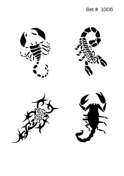 UNLIMITED STENCILS 4 selbstklebende DURA-LAR Airbrush Tattoo-Schablonen D1005