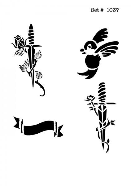 UNLIMITED STENCILS 4 selbstklebende DURA-LAR Airbrush Tattoo-Schablonen D1037