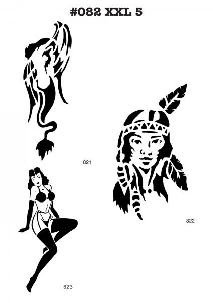 6 Airbrush-Tattoo-Schablonen MYLAR #082