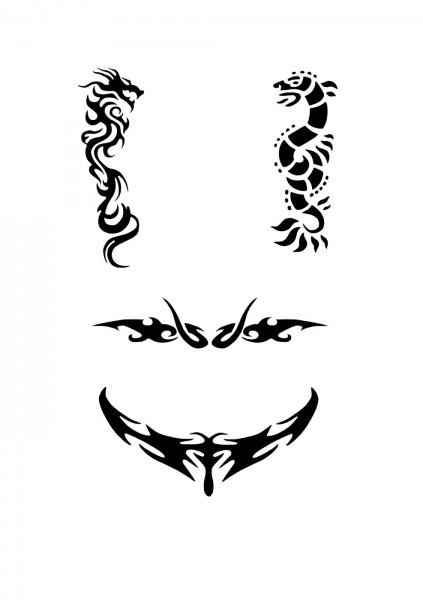 Glitzer Tattoo Schablonen Set für Kinder K22G