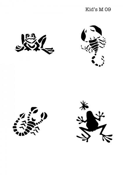 Kinder Airbrush Tattoo Schablonen Mylar FROSCH, SKORPION