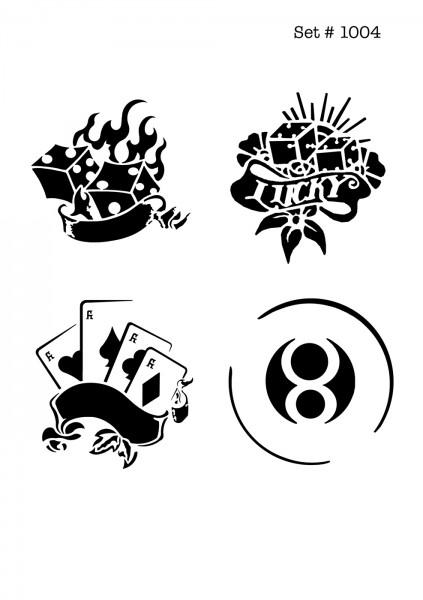 UNLIMITED STENCILS 4 selbstklebende DURA-LAR Airbrush Tattoo-Schablonen D1004