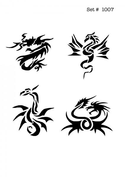 UNLIMITED STENCILS 4 selbstklebende DURA-LAR Airbrush Tattoo-Schablonen D1007