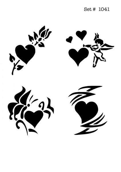 UNLIMITED STENCILS 4 selbstklebende DURA-LAR Airbrush Tattoo-Schablonen D1041