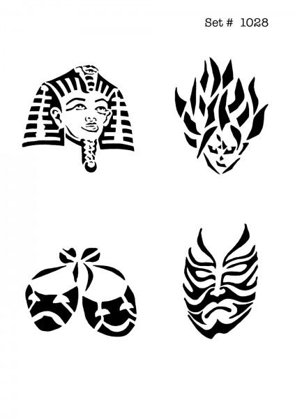 UNLIMITED STENCILS 4 selbstklebende DURA-LAR Airbrush Tattoo-Schablonen D1028
