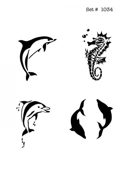 UNLIMITED STENCILS 4 selbstklebende DURA-LAR Airbrush Tattoo-Schablonen D1034