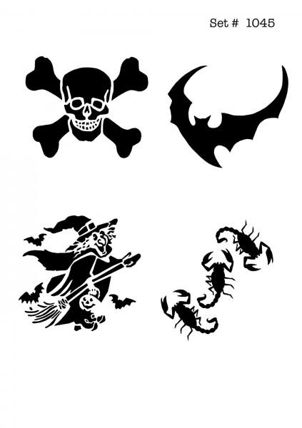 UNLIMITED STENCILS 4 selbstklebende DURA-LAR Airbrush Tattoo-Schablonen D1045