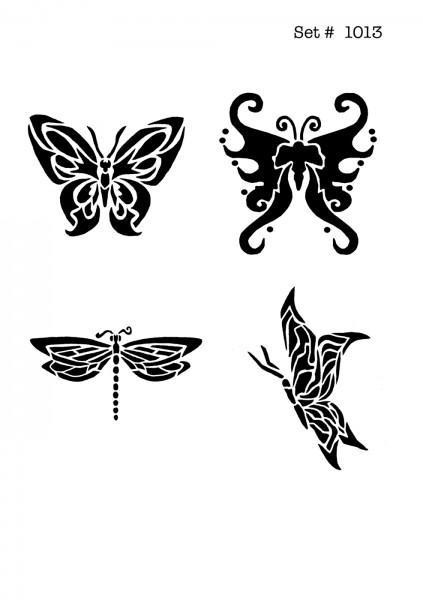 UNLIMITED STENCILS 4 selbstklebende DURA-LAR Airbrush Tattoo-Schablonen D1013