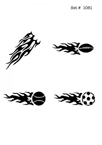 UNLIMITED STENCILS 4 selbstklebende DURA-LAR Airbrush Tattoo-Schablonen D1061