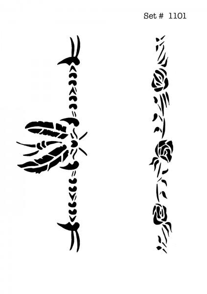 UNLIMITED STENCILS 4 selbstklebende DURA-LAR Airbrush Tattoo-Schablonen D1101
