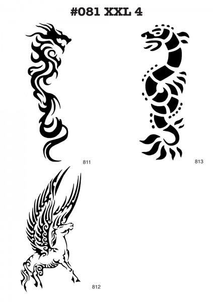 6 Airbrush-Tattoo-Schablonen MYLAR #081