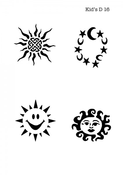 Kinder Airbrush Tattoo Schablone SONNE, TRIBAL SUN, MOND