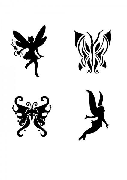 Glitzer Tattoo Schablonen Set für Kinder K02G