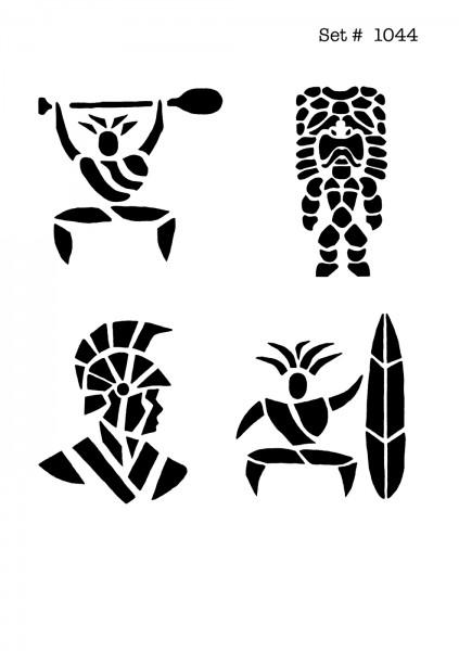 UNLIMITED STENCILS 4 selbstklebende DURA-LAR Airbrush Tattoo-Schablonen D1044