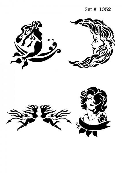 UNLIMITED STENCILS 4 selbstklebende DURA-LAR Airbrush Tattoo-Schablonen D1032