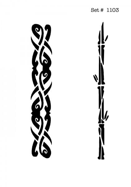 UNLIMITED STENCILS 4 selbstklebende DURA-LAR Airbrush Tattoo-Schablonen D1103