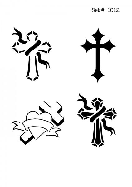 UNLIMITED STENCILS 4 selbstklebende DURA-LAR Airbrush Tattoo-Schablonen D1012