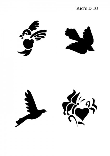 Kinder Airbrush Tattoo Schablone VOGEL, HERZ