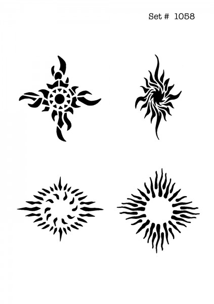 UNLIMITED STENCILS 4 selbstklebende DURA-LAR Airbrush Tattoo-Schablonen D1058