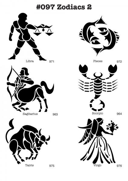 6 Airbrush-Tattoo-Schablonen MYLAR #097