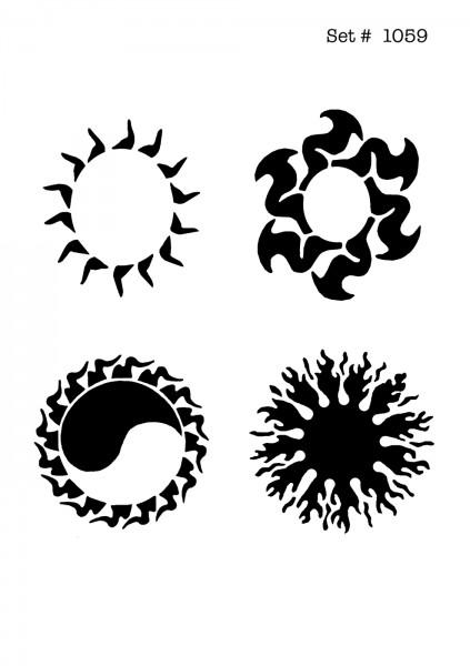 UNLIMITED STENCILS 4 selbstklebende DURA-LAR Airbrush Tattoo-Schablonen D1059