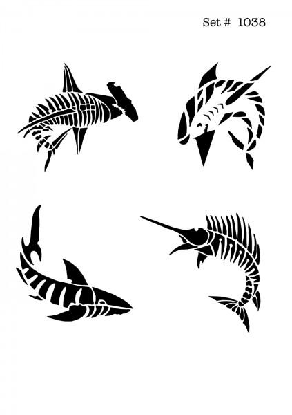 UNLIMITED STENCILS 4 selbstklebende DURA-LAR Airbrush Tattoo-Schablonen D1038