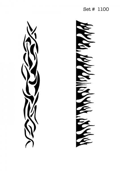 UNLIMITED STENCILS 4 selbstklebende DURA-LAR Airbrush Tattoo-Schablonen D1100