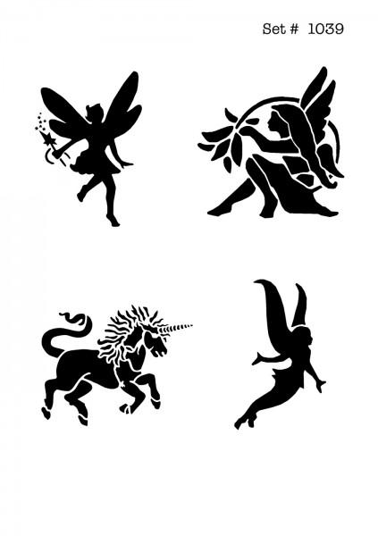 UNLIMITED STENCILS 4 selbstklebende DURA-LAR Airbrush Tattoo-Schablonen D1039