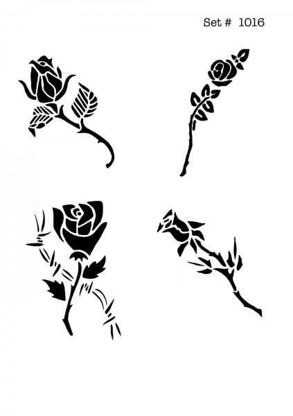 UNLIMITED STENCILS 4 selbstklebende DURA-LAR Airbrush Tattoo-Schablonen D1016