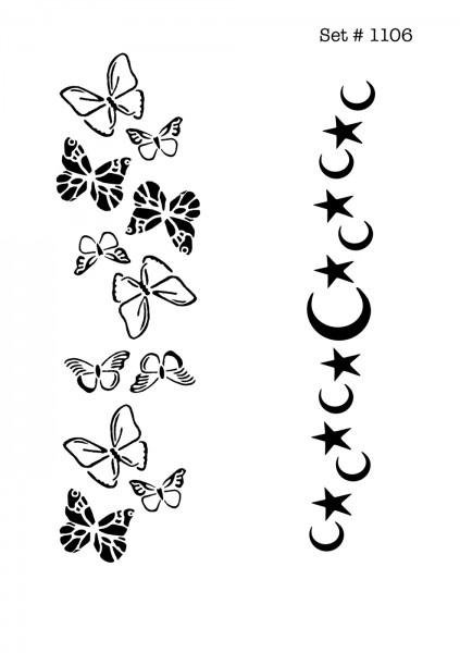 UNLIMITED STENCILS 4 selbstklebende DURA-LAR Airbrush Tattoo-Schablonen D1106