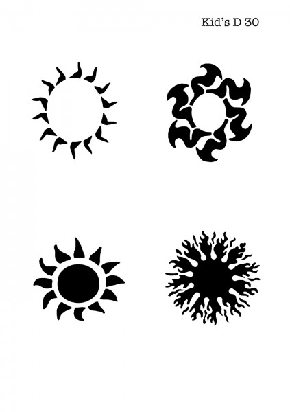 Kinder Airbrush Tattoo Schablone TRIBAL SUNS