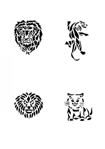 Glitzer Tattoo Schablonen Set für Kinder K17G
