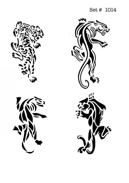 UNLIMITED STENCILS 4 selbstklebende DURA-LAR Airbrush Tattoo-Schablonen D1014
