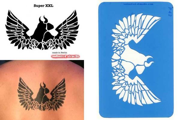 Mylar Airbrush Tattoo / Bodypainting Schablone XXL ARSCHEWEIH, RÜCKENSCHABLONE MP42