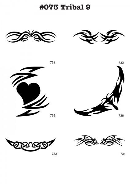 6 Airbrush-Tattoo-Schablonen MYLAR #073