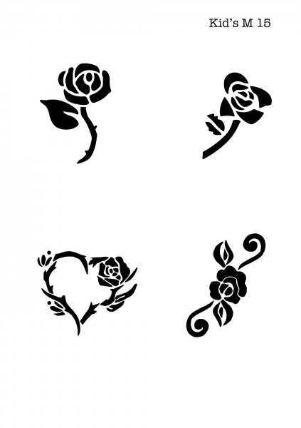 Kinder Airbrush Tattoo Schablonen Mylar ROSE, HERZ, BLUME