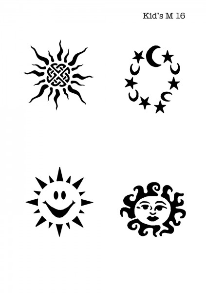 Kinder Airbrush Tattoo Schablonen Mylar SUN, SONNE, TRIBAL