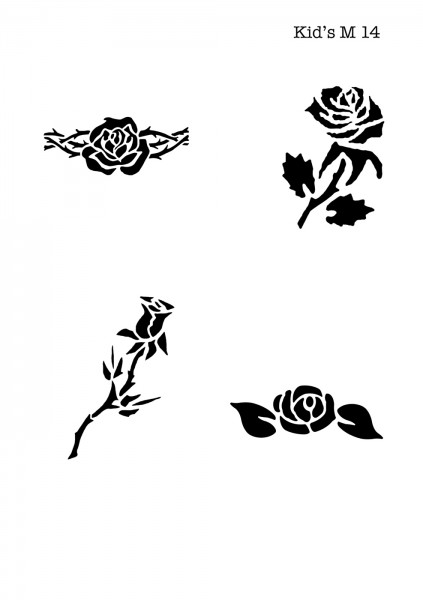 Kinder Airbrush Tattoo Schablonen Mylar ROSE, BLUME