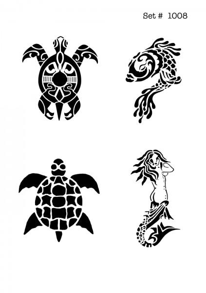 UNLIMITED STENCILS 4 selbstklebende DURA-LAR Airbrush Tattoo-Schablonen D1008