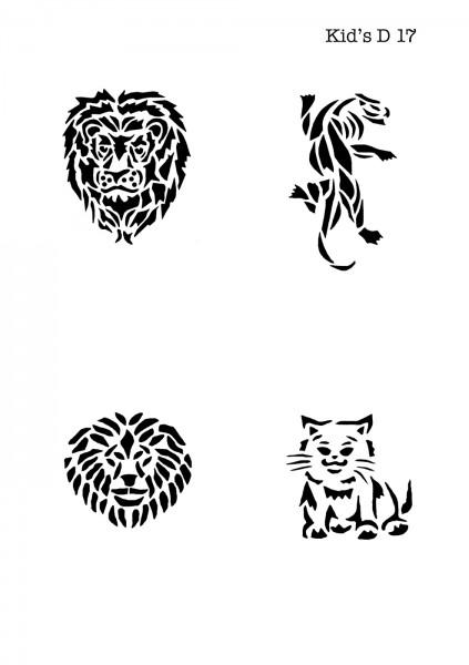 Kinder Airbrush Tattoo Schablone LÖWE, PUMA, HUND