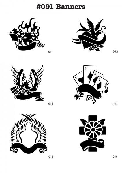 6 Airbrush-Tattoo-Schablonen MYLAR #091