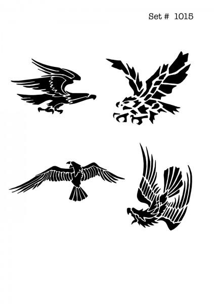 UNLIMITED STENCILS 4 selbstklebende DURA-LAR Airbrush Tattoo-Schablonen D1015