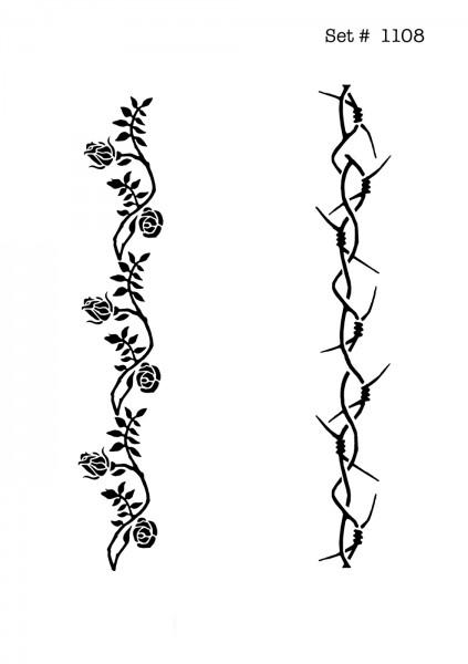 UNLIMITED STENCILS 4 selbstklebende DURA-LAR Airbrush Tattoo-Schablonen D1108
