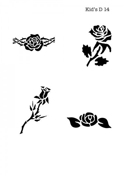 Kinder Airbrush Tattoo Schablone ROSE, BLUME