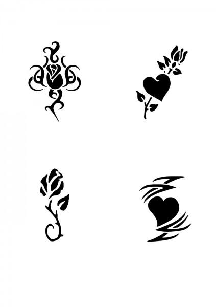 Glitzer Tattoo Schablonen Set für Kinder K12G