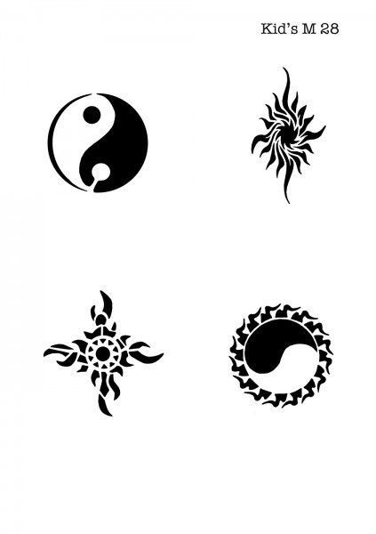 Kinder Airbrush Tattoo Schablonen Mylar TRIBAL, YIN-YANG
