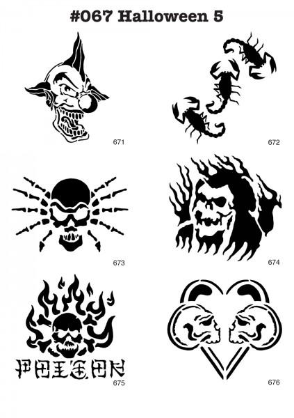 6 Airbrush-Tattoo-Schablonen MYLAR #067